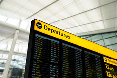 Flight information, arrival, departure at the airport, London. Flight information, arrival, departure at the Heathrow airport, London, England taken in 2015 Royalty Free Stock Image