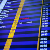 Flight information board in airport. Stock Photo