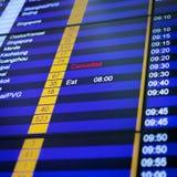 Flight information board in airport. stock photo