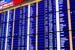Flight information board in airport. Royalty Free Stock Photography