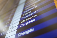 Flight information board in airport. Stock Image