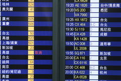 Flight information board in airport terminal Stock Images
