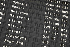 Flight information board in airport Stock Photography