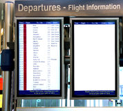 Flight Information board and a blank board Stock Photo