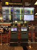 Flight Information Board Singapore`s Changi Airport Stock Photography