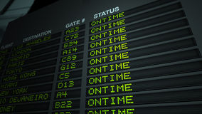 Flight Information Board, On Time Stock Image