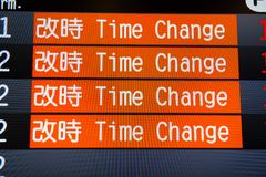 Flight information board with time change flights stock images