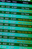 Flight information display screens at an airport Royalty Free Stock Photo