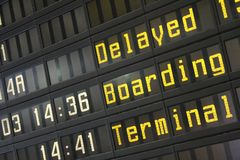Flight information panel. On the airport Stock Image