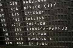 Flight Information Panel. A flight information panel from the Frankfurt airport stock image
