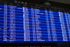 Flight information panel in Beijing Capital International Airport Royalty Free Stock Image