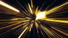 Flight inside a Gold StarsField Tunnel at The Speed of Light Loopable stock footage