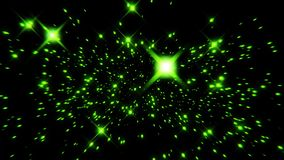 Flight inside a Green Stars Particles Field Loopable Background. Flight inside a Green Stars Particles Field Loopable Motion Background stock video footage