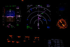 Flight instrument at night. Modern aircraft instrument in night function, this advanced indicator was called glass cokpit Stock Images