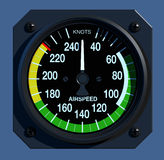 Flight Instruments - 2D - Airspeed Indicator. Front view of aircraft airspeed indicator Stock Photography