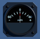 Flight Instruments - 2D - Ammeter. Front view of aircraft amperage indicator Stock Photos