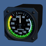 Flight Instruments - 3D - Airspeed Indicator. Angled view of aircraft airspeed indicator Royalty Free Stock Photos