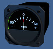 Flight Instruments - 3D - Ammeter. Angled view of aircraft amperage indicator Royalty Free Stock Images