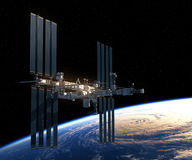 Flight Of International Space Station Over The Earth. 3D Illustration Stock Image