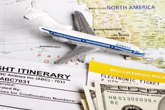 Flight itinerary Royalty Free Stock Photos