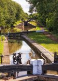 Flight of Locks, Worcester and Birmingham Canal, England. Royalty Free Stock Image