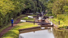 Flight of Locks, Worcester and Birmingham Canal. Stock Photos
