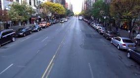 Flight through Manhattan street canyon USA cityscapes. Flight through Manhattan street canyon United States cityscapes videoclip stock video