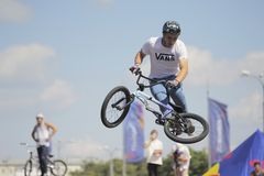 Flight mauntibayker on bmx. Royalty Free Stock Photography