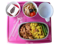 In-Flight meal. Asian Cuisine. Economy Class stock photography