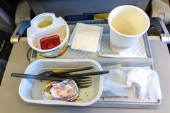 In flight meal breakfast leftovers. Breakfast leftovers on a tray onboard the economy class of and Airplane Stock Photography