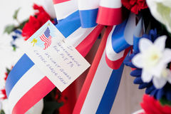 Flight 93. A memorial wreath to Flight 93 victims in Shanksville, Pennsylvania Stock Images