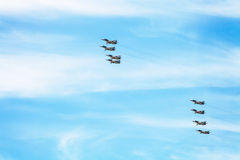 Flight of military battleplane aircrafts in sky Stock Photography