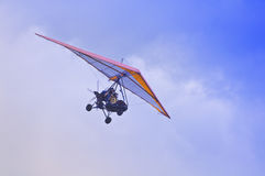 Flight of the motor deltaplane. Stock Photos
