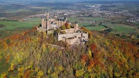 Aerial view of Hohenzollern Castle, Germany stock video footage