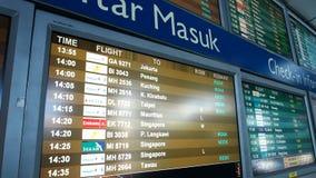 Flight notice board in the departures terminal of KLIA stock footage
