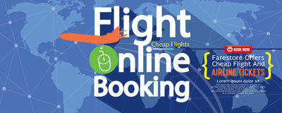 Flight Online Booking For Sale 1500x600 Banner. Royalty Free Stock Images