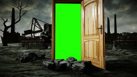 Flight through an open door. Portal through ecological catastrophe, apocalypse. Green screen. Realistic 4k animation.