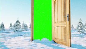 Flight through an open door. Portal through winter landscape. Green screen. Realistic 4k animation.
