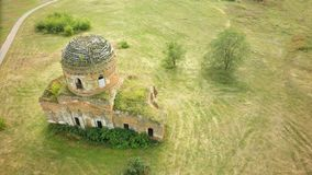 Flight Over Abandoned Orthodox Church aerial.  stock photography