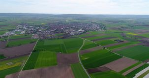 Flight over the agricultural zone in Europe, Germany. Countryside in Germany. european agriculture