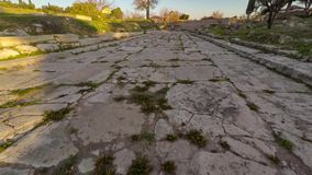 Flight over the ancient road. The Holy Road, Didim, Turkey. Aerial, 4k. stock footage