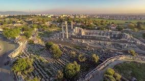 Flight over the Apollo Temple area, Didim, Turkey, aerial, 4k. stock video