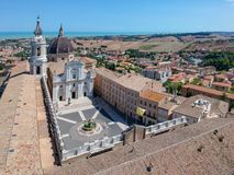 Free Flight Over Basilica Della Santa Casa Loreto Italy Stock Images - 142951754