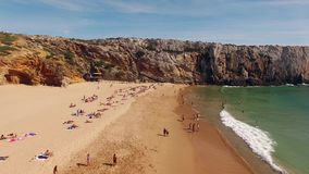 Flight over beautiful sandy beach in Portugal, Praia do Beliche, Sagres, aerial view stock video footage