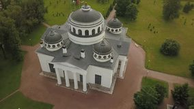 Flight over the beautiful St. Sophia Cathedral in Pushkin stock footage