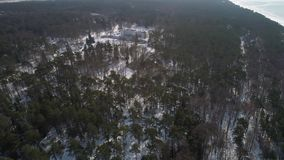 Flight over big old manor house at winter stock footage