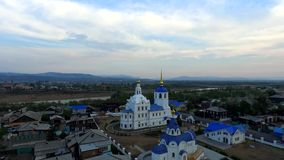 Flight over Cathedral in Ulan-Ude, Buryatia. stock footage