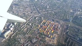Flight over the center of Kiev by plane