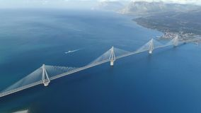 Flight over of the Charilaos Trikoupis bridge Rio-Antirio. In Greece stock video