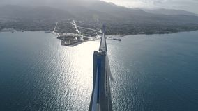 Flight over of the Charilaos Trikoupis bridge Rio-Antirio. In Greece stock footage